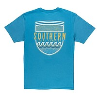 Mosaic Badge Tee in Cendre Blue by The Southern Shirt Co. - FINAL SALE