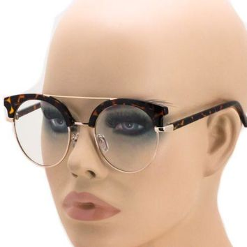 Tortoise Gold Retro Vintage 80s Clubmaster Clear Lens Hipster Nerd Glasses NEW