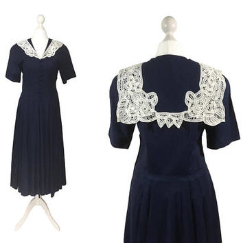 Edwardian Style Laura Ashley Dress | Vintage Laura Ashley Sailor Dress | Navy Blue Linen Dress With White Battenberg Lace Collar