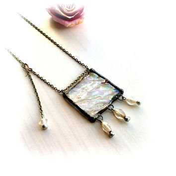 Art Deco Necklace Square Geometric Adjustable Mixed Metal Jewelry Metallic Iridescent Stained Glass Jewelry Beadwork Handmade the in USA