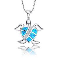 Sterling Silver Heart Shell Turtle W. Blue and Green Fire Opal Pendant Necklace