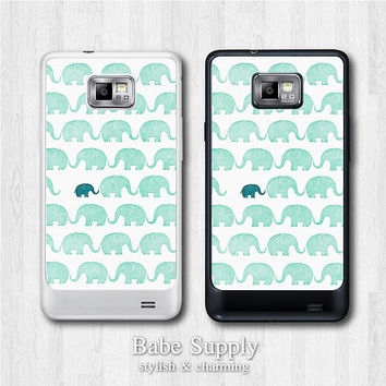 Cute Samsung Galaxy S2 case - Green Elephant - Oil Paint galaxy S2 cover, Black / Clear hard SII case