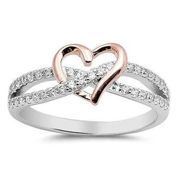Sterling Silver 925 INFINITY HEART LOVE ROSEGOLD CLEAR CZ PROMISE RING SIZE 4-12