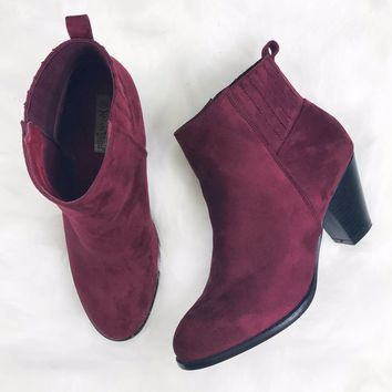 Simply Sweet Wine Suede Booties