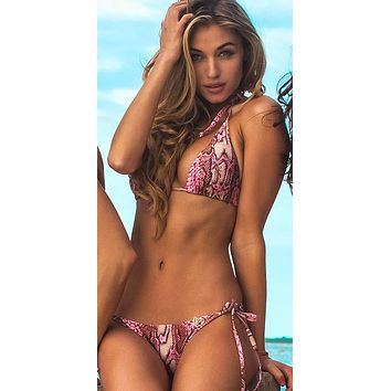 Liliana Montoya Swim B013SP Pink Snake Print Triangle Top & Side Tie Scrunch Bottom Swimwear Set