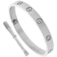 Stainless Steel Screws Bangle Bracelet for Women Oval High Polish 7mm wide, fits 6.5 inch wrists