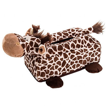 Flexibuy Cartoon Animal Design Giraffe Plush Napkin Tissue Box Case Holder Cover (#2)