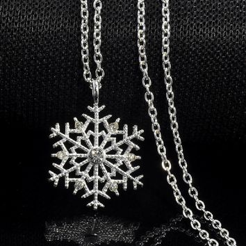 Crystal Snowflake Silver Plated Pendants Necklaces