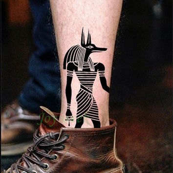 Waterproof Temporary Tattoo sticker protector of Ancient Egypt Egyptian totem Anubis Water Transfer fake tattoo flash tattoo