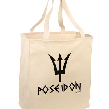 Trident of Poseidon with Text - Greek Mythology Large Grocery Tote Bag by TooLoud