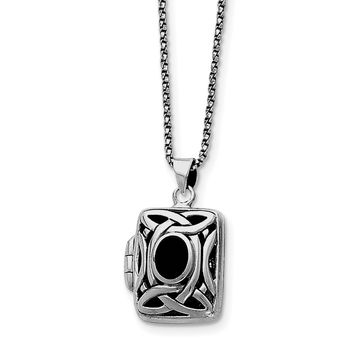 Sterling Silver Onyx & Marcasite Square Locket w/Chain QG1938