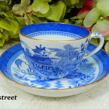 Beautiful Antique 19c Copeland Spode England Porcelain Cup & Saucer Blue Willow