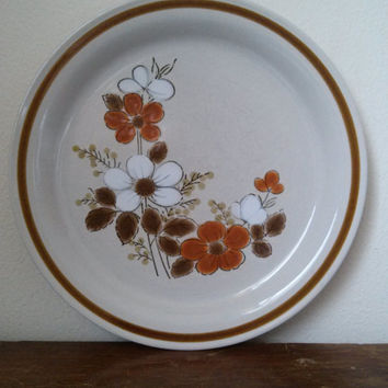 Vintage Stoneware Dinner Plate - Highland Florals Collection - Mountain Floral Made in Japan