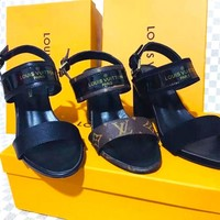 LV Slippers Louis Vuitton Sandals Women High Heel Word Shoes B-ALS-XZ  Three Color