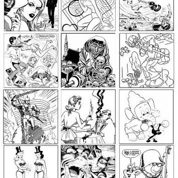 adult coloring page collage sheet digital download 2.5 inch squares comic book colouring pages for coasters tiles scrapbooking crafts cards