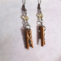 Cute mini clothespin earrings with yellow crystal