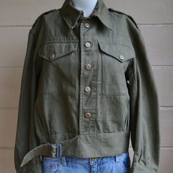 Vintage Military Shirt Jacket British Army Denim Blouse Olive Drab Green 1950s Mens Large Shirt