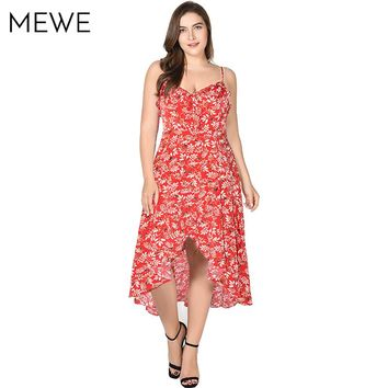 2018 New Summer Bohemian Dress Leaf Print Sundress 5xl 6xl 7xl Ruffle Vacation Maxi Dresses Asymmetrical Red Dress Plus Size 4xl