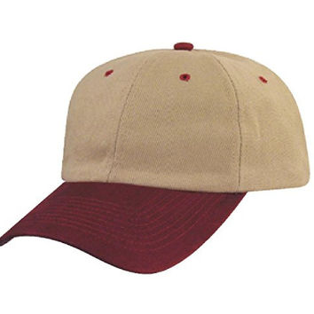 APBGC -New Classic Brushed Cotton Caps Baseball Solid / Two Tone (APBGC 1019 MAROON/KHAKI)