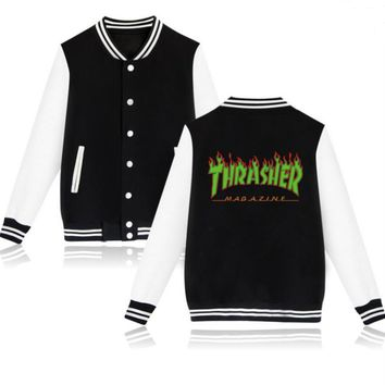 Thrasher flame special large size tide coat plus cashmere couple baseball clothing Green letters