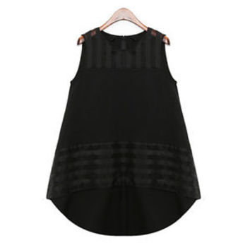 Women Summer Loose Casual Chiffon Sleeveless Vest Shirt Tops Blouse Black Color