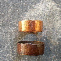 Pipe Dream - Solid Copper - Recycled Copper Pipe Hammered Ring - Thick Band - Eco-Friendly - Unique - Under 25