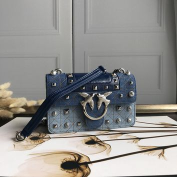 Kuyou Gb69729 Pinko Women¡¯s Love Bag Idillio In Leather With Studs And Pearls Denim Clutch Bag 21-14-6cm
