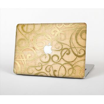 The Bright Gold Spiral Wood Pattern Skin Set for the Apple MacBook Pro 15""