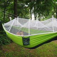 Handy Hammock Single Person Portable Parachute Fabric Mosquito Net Hammock for Indoor Outdoor Camping Travelling