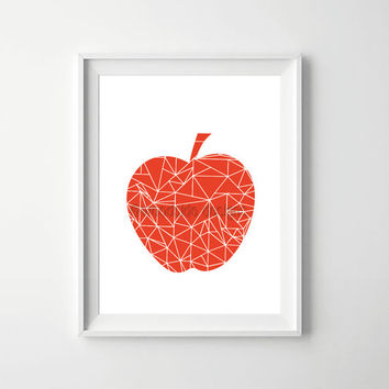 Modern Apple Geometric Print, Triangle Pattern Apple Illustration, Printable Poster, Kitchen Art, Scandi Art, Modern Wall Art, Red Apple