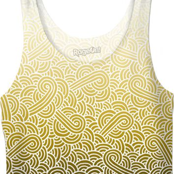 Ombre yellow and white swirls doodles Crop Top