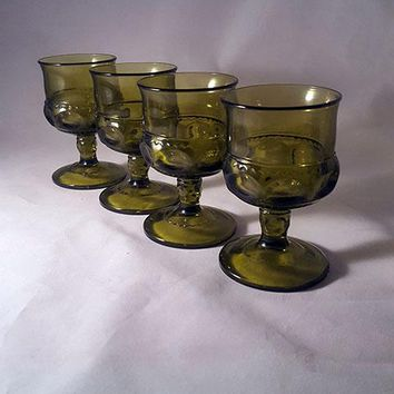 Set of 4 Forest Green Kings Crown Thumbprint Goblets By Tiffin Franciscan