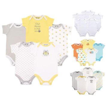 Luvable Friends Baby Boys' and Girls' Bodysuits, 5-Pack