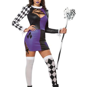 Naughty Jester Dress Costume Set (X-Small,Purple/Black)