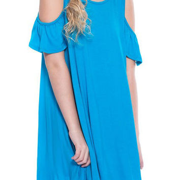 Pomelo Clothing Cold Shoulder Dress for Girls in Turquoise TW1030-TURQ