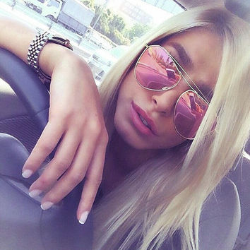 ROYAL GIRL Brand Designer Metal Frame Reflective Mirror Glasses Classic Women Sunglasses Double-Bridge Shades Oval Glasses SS556