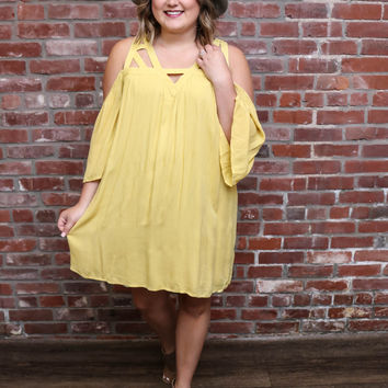 Butter Cup Strappy Open Shoulder Dress