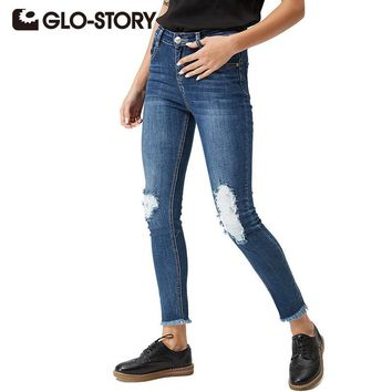 GLO-STORY Women's torn jeans 2017 Skinny Casual American Apparel High Waist Ripped Denim Female Pants WNK-3300