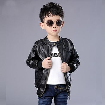 New Boys Faux Leather Jackets Kids Fashion Coats Spring & Autumn Children Casual Leather Outerwear