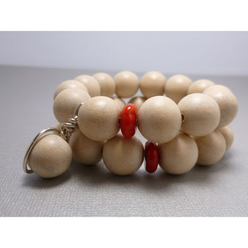Beaded Bracelet Set. White Wood With Coral