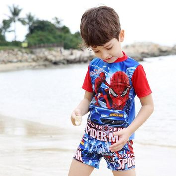 Spiderman swimsuit for boys two pieces swimwear Short Sleeve O neck bathing suit kids Bathing Suit Children's Swimsuit16C01