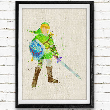 Zelda Link Watercolor Art Print, Baby Room, Nursery Wall Art, Home Decor, Not Framed, Buy 2 Get 1 Free!