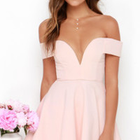 Sensational Anthem Off-the-Shoulder Light Pink Dress