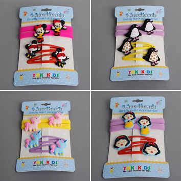 4pcs/set Cute Cartoon Unicorn Hair Clips Micky and Princess Elastic Hair Bands Lovely Girls Colorful Hairpin Hair Accessories