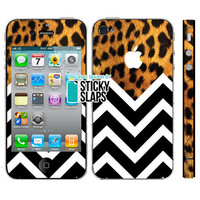 Iphone 5 4 4s Skin -Wild Thing Leopard Chevron -decal sticker