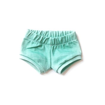 Organic Baby Shorties in Teal Linen