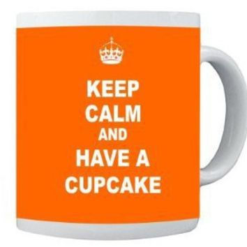 Rikki KnightTM Keep Calm and have a Cupcake - Orange Design 11 oz Photo Quality Ceramic Coffee Mug Cup - FDA Approved - Dishwasher and Microwave Safe