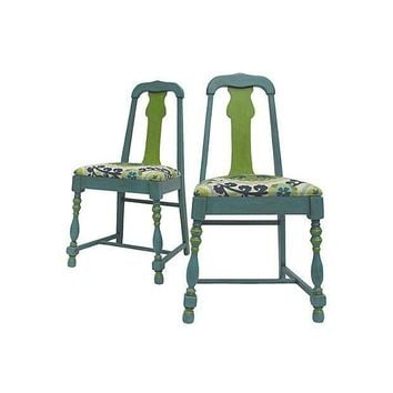 Pre-owned Suzani Print Accent Chairs - A Pair