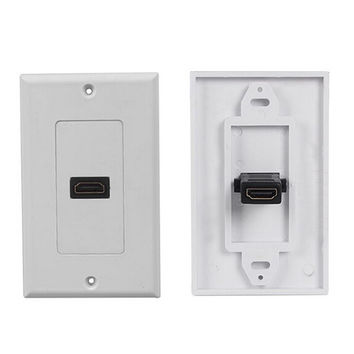 HDMI 1-Port Wall Face Plate Panel Outlet Extender 3D 1080p White Cover Coupler