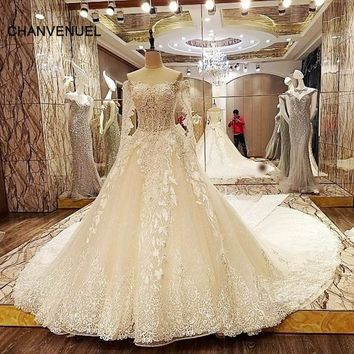 LS95164 luxury arabic bridal dresses lace ball gown sweetheart corset back wedding gowns 2018 robe de mariage real photos